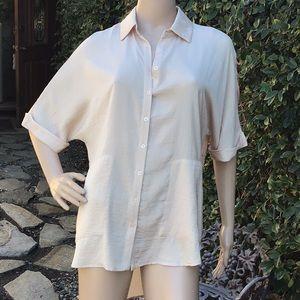 Ro & De Short Sleeved Button Down Cream Shirt